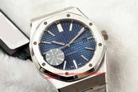 2002 Mens 15400 41MM CAL.3120 블루 다이얼 사파이어 316F 스테인레스 스틸 케이스 자동 이동 방수 다이빙 투명 손목 시계.