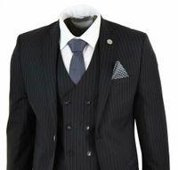 Homens 3 pedaço terno do Gatsby 1920 Peaky Blinders Gangster Riscas Tailored Fit smoking Prom Suit (jaqueta + calça + Vest)