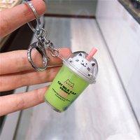 Carro bonito do gato dos desenhos animados Keychain criativa Tea Milk Cup Liquid Crystal Quicksand Lantejoula Chaveiro Bag Pingente de Cadeia Bag Mulheres Key