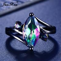 12 Цвет Уникальный Mystery Женщины Девушки Радуга кольцо Мода 14KT Черное золото ювелирные изделия богемского Обручальные кольца для женщин