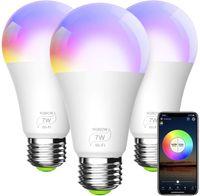 المصباح الذكي، E27 / E26 RGBCW WIFI أضواء LED متعدد الألوان، متوافق مع Alexa، Google Home و ifttt (لا يوجد مركز مطلوب) 7W