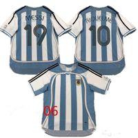19 Messi 10 Riquelme S-2XL Argentina Futebol Jersey 2006 Copa do Mundo Tailandesa Vintage Coleção Clássica 06 07 Camisa de Futebol CRESPO Camiseta