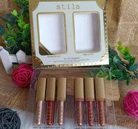 6 colores Stila Eye para la elegancia de maquillaje sombra de ojos líquido edición limitada Conjunto Cosméticos Tierra lustre determinado del labio