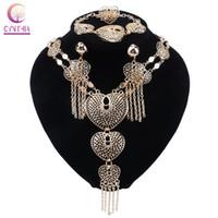 Moda de lujo de múltiples capas de la aleación del anillo del pendiente de la borla de la pulsera del collar en forma de corazón Conjuntos para joyería fija el partido de las mujeres
