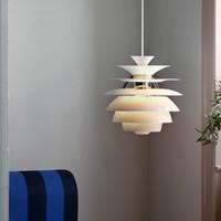 Postmodern minimalist beyaz alüminyum tek kafa kolye lamba İskandinav yaratıcı çam koni tasarımı LED restoran dekorasyonu E27 aydınlatma AC 90-250V