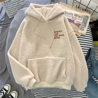 Escudo del dulce con capucha Ebaihui otoño invierno para dama Harajuku bolsillo suelto sudaderas con capucha para mujer de paño grueso y suave del suéter femenino de la camiseta de franela