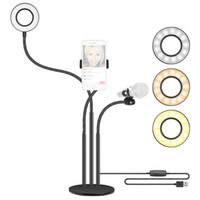 구즈넥 전화 홀더 브라켓 삼각대와 마이크 다기능 라이브 Tiktok 방송 LED 셀카 링 라이트 팝 필터 램프 스탠드