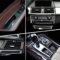 من ألياف الكربون الخفيفة لتغطية لوحة BMW E70 E71 X5 X6 الداخلية ذراع نقل السرعات تكييف الهواء AC CD القراءة تريم ملصق اكسسوارات السيارات التصميم