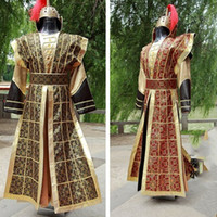 Hanfu Nationale Chinoise Jaune Rouge Chine Antique Costume Hanfu Hommes Vêtements Costume Traditionnel National Tang Costume De Scène DWY1139