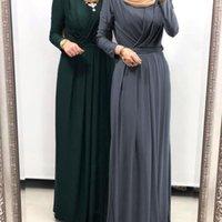 Plus Size Eleganter Bleistift Abaya Kleid Für Frau Muslimische islamische Kleidung Outfits Full Sleeve Vintage Vestidos mit Gürtel Hijab