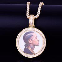 Пользовательские фото медальонов Круглого ожерелья Фоторамка подвеска с Алмазной теннис плетеного Gold Ice Рока Street Мужчина Хипом-хоп ювелирные изделия
