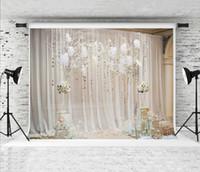 Sogno 7x5ft Bianco Tenda Floreale Matrimonio Fotografia Sfondo Cerimonia Interna Fiore Decor Foto Sfondo per Festa di Compleanno Sparare Prop