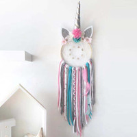 Decoración del hogar Unicornio Dream Catcher Girl Dormitorio accesorio de pared hecho a mano Baby Shower Wedding Party Favor Suministros