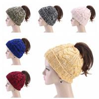 Women Ponytail Beanies Winter Women twist Knitted Hat Warm Wool horsetai Skull Beanie Crochet Ski Outdoor Cap LJJA3128