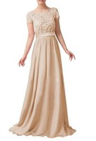 Elegant Scoop Long Bridesmaid Dresses with Short Sleeves Lac...