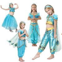 Aladdin Jasmine principessa Dresses Per Big Girl costume cosplay Halloween bambini pizzo + TUTU Pant Outfit Kid Disguise Cerimonia Frock