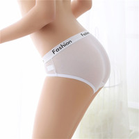 English Letter Fashion Transparent Briefs Panties Solid Colo...