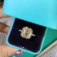 Quadrato Giallo donne diamante 925 anelli d'argento classico della festa nuziale di anelli di fidanzamento dei monili superiori