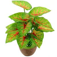 1 Ramo / 18 hojas Hojas tropicales de seda artificial para Hawaii Luau Party Decorations Fake Bonsai Tree Plant Branch Accesorios