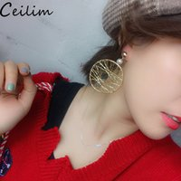 2019 Korean Thread Winding Exaggerated Circle Earring Gold G...
