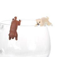 Novelty Dog Cup Edge Figure Animal Model Straw Decoration Pe...