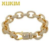 مجوهرات الملتوية البيضاوي الكوبي ربط سلسلة سوار قفل كبير الذهب والفضة اللون الزركون مثلج الهيب هوب مجوهرات هدية حزب