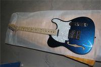 Envío gratis TL Blue Silver Polvo Partículas Guitarra, Cuerpo de Basswood, Cuello de Arce, Guitarra Semi Hollow, Hardware Chrome, Pickupboard White Shell