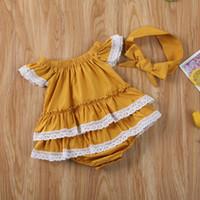 Bebé infantil de ropa de volantes de encaje sólido lindo manga corta Romper el mono Headwear Minifalda sunsuit Ropa de calle
