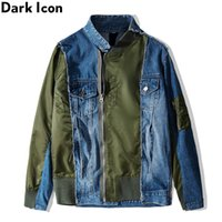 Patchwork scuro Irregolare Irregolare Zipper Jacket Giacca Denim Men Street Fashion Jean Jackets Streetwear Abbigliamento