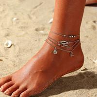 Ajustable multi-capa de Boho de las estrellas de mar para el tobillo del pie del tobillo de la vendimia de las mujeres de Buda pulsera para la joyería de Verano Barefoot Beach Tobillera