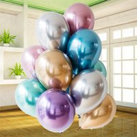 50pcs lot 12inch New Glossy Metal Pearl Latex Balloons Thick Chrome Metallic Colors Inflatable Air Balls Globos Birthday Party Decor S6DE