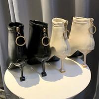 2020 новый стиль сапоги осенние туфли на высоком каблуке женские туфли обратно молнии сапоги Мартин сапоги Британский стиль
