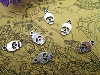 150pcs Crâne tête minuscule Charms Crâne Pendentifs Antiqued ton argent 14x8mm