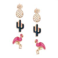 Shell Pearl Öronpinnar För Kvinnor Stjärnor Crescent Mode Örhängen Flicka Leaf Flamingo Ananas 3 Pieces Studs Smycken Set Gratis frakt