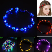 Christmas Wreath LED Flower Wreath Headband Crown Floral Gar...