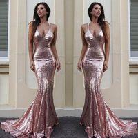 Rose Gold Mermaid Bridesmaid платья для свадьбы Простая блестящая сексуальная Halter Havy of Change Plasss Custom Maste Cheap Dround Bridemaid платье