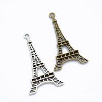 300PCS / الكثير برج ايفل السحر -Antique برونزية وقطع أثرية فضية تخريمية برج ايفل باريس سحر المعلقات 25x45mm