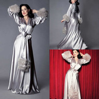 Silk Bathrobe for Bridal Fur Lingerie Nightgown Pajamas Slee...