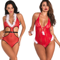 Mulheres Sexy V-plung Branco Decote e guarnição fuzzy Side Cut-out do feriado do Natal Red Mesh-alta corte da peluche com o Black Belt Lingerie Nightwear