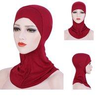 Helisopus Soft мусульманская Stretch Тюрбан Полное покрытие Внутренняя Хиджаб Caps Сплошной цвет мусульманскую Bonnet Cap исламскую Ninja Рамазан крышка головки