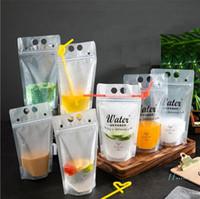 500ml Auto-sigillati trasparente succo bevande Latte bevande Pouch Bag con la chiusura lampo stand mobile Up Cancella calda bevande fredde Coppa Con Paglia E5410