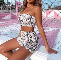 Abbigliamento Bikini donne senza maniche Snake estate Stampa Bassiera Femminile Shorts 2pcs Swimwear Beach Ladies