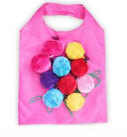 Forma de flor rosa Bolso plegable de almacenamiento Bolso ecológico reutilizable Bolsos de compras ambientales Plegado de comestibles Bolsa grande