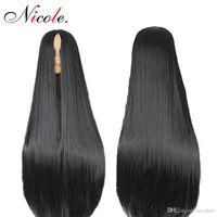 Venta caliente de 24 pulgadas sintética larga recta pelucas sintéticas Color Natural Negro peluca llena miradas verdaderas de fibra de alta temperatura largo derecho pelucas