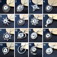 Nya Snap Smycken 10st / Lot Round Crystal 18mm Knapp Hängsmycke Halsband Ginger Noosa Chunk med rostfritt stålkedja Charm DIY Present