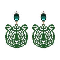 Мода-Тюльпан новый дизайн тигр форма головы серьги мути цвет выбрать творческий животных серьги горный хрусталь модные подарки высокое качество