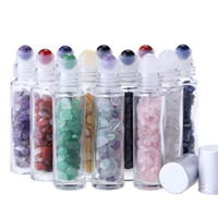 Эфирное масло DiffuSer 10мл Прозрачное стекло Ролл на бутылки духов с дробленый природный кристалл кварца камень, кристалл роллер Silver RRA2897
