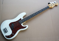 Venda 4 Cordas da guitarra Factory Direct Branco Electric Bass com 2 Pickups, Red Pearled Pickguard, Rosewood Fingerboard,