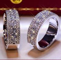 Brilliant Твердая 925 стерлингового серебра годовщину свадьбы Круглый Lovers SONA бриллиантовое кольцо Обручальное ДИАПАЗОН Fine Jewelry Мужчины Женщины Вентилятор подарков