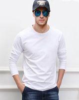 Camisetas para hombres 2021 otoño manga larga hombres camisetas 100% algodón camiseta de alta calidad color sólido negro blanco gris rojo azul marino bule todo tamaño s-x